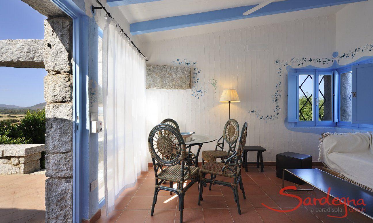 Soggiorno con porta sulla veranda  Casa 20, Sant Elmo