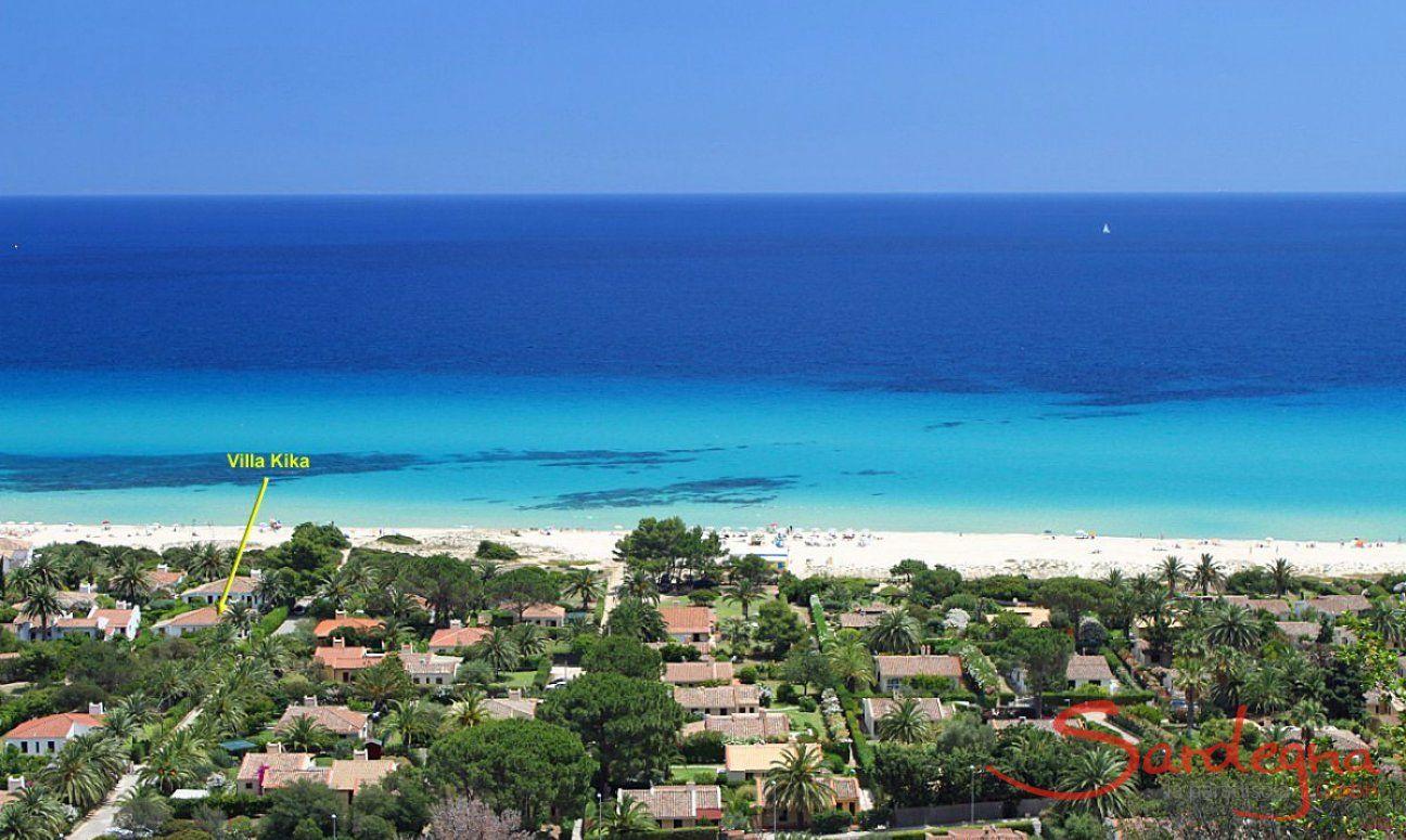 Posizione di Villa Kika 100 metri dalla spiaggia