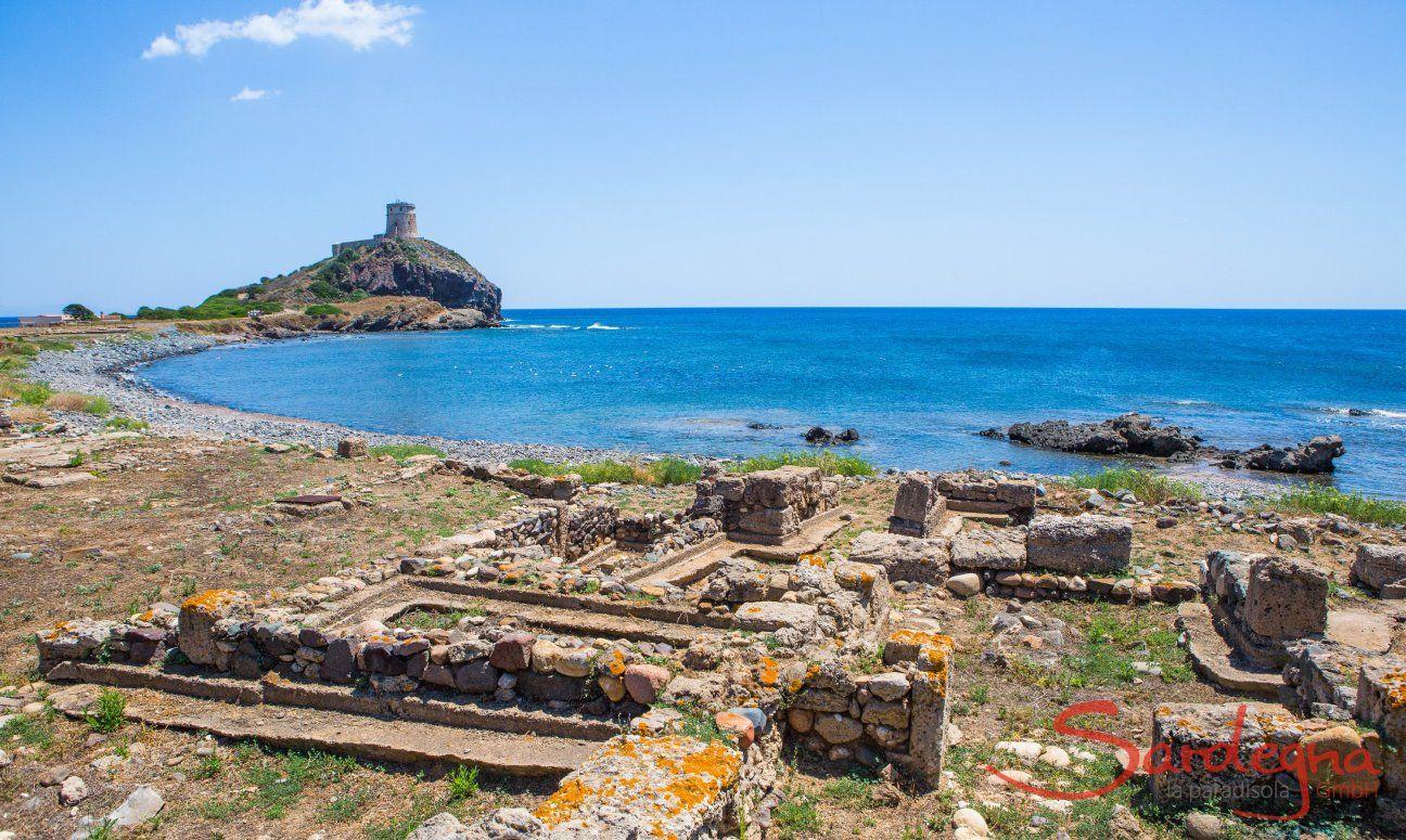 Sito archeologico di Nora e torre spangolo Sant Efisio