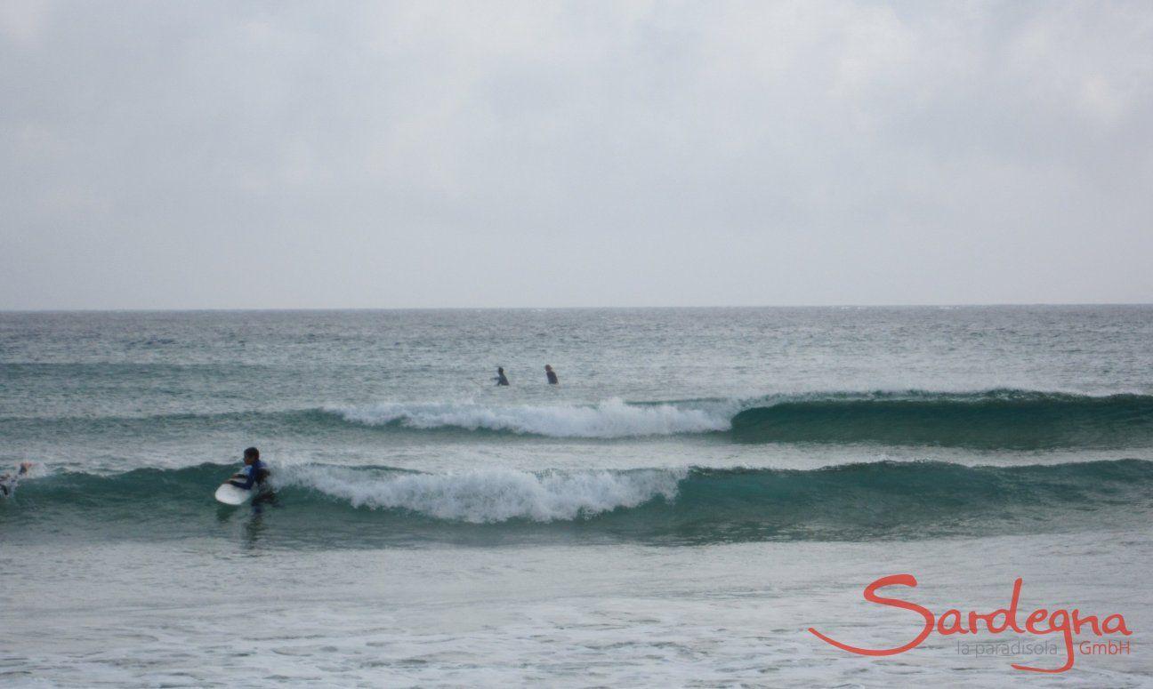 Onde con surfisti davanti alla spiaggia di Pula