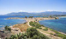 Penisola di Nora e vista sulle colline di Is Molas